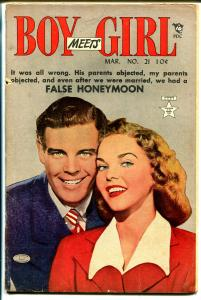 Boy Meets Girl #21 1951-Lev Gleason-photo cover-headlight art-G