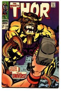 THOR #155 comic book-JACK KIRBY-MARVEL 12 CENT VF