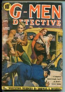 G-MEN DETECTIVE 09/1940-THRILLING-FBI-TOMMY GUN  COVER-HARD BOILED PULP-CRIME-vg