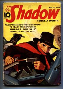 SHADOW 1938 July 1 -The Whisperer- STREET AND SMITH-RARE PULP vg