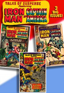 TALES OF SUSPENSE #70, 72, 75 (1965) GD/VG  3 Issues of Iron Man, Cap & Kirby!