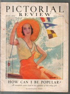 Pictorial Review 7/1931-GGA portrait cover by McClelland Barclay-pulp fiction-G/