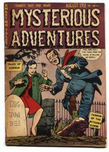 MYSTERIOUS ADVENTURES #3-HAND OUT OF GRAVE-1951-PCH HORROR