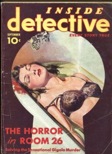 Inside Detective 9/1937-Spicy keyhole lingerie cover! Pulp mag