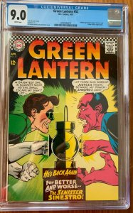 GREEN LANTERN #52 CGC 9.0 -- WHITE PAGES! GOLDEN AGE LANTERN APPEARANCE!