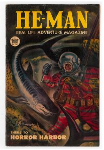 He-Man (1954 Toby) #2 VG+ Shark cover, Last issue in the series, Horror Harbor