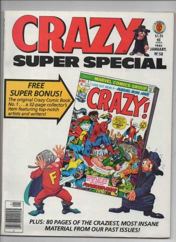CRAZY #58 Magazine, VF, w/ comic Insert, Super Special, 1973 1980, more in store