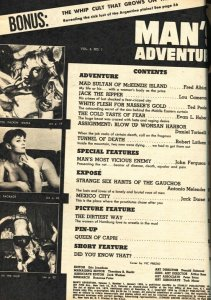 Man's Adventure January 1959-Spicy babe menaced by natives