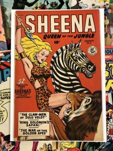Sheena #5 VG 4.0 10c golden age QUEEN OF THE JUNGLE fiction house ANC LION cover