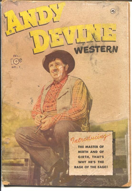 Andy devine #1 1950-Fawcett-1st issue-photo covers-B-Western film star-FR