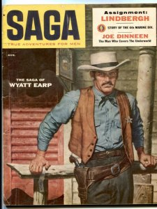 Saga Magazine August 1956- Wyatt Earp- Lindbergh- Joe Dinneen