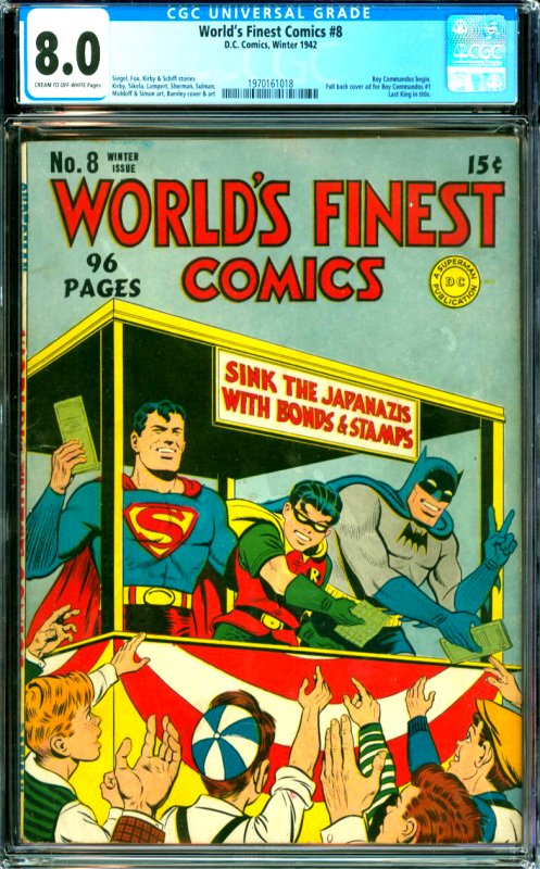 World's Finest Comics #8 CGC Graded 8.0 Boy Commndos begin. Full back cover a...