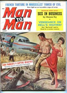 MAN TO MAN-AUG 1960-GATOR ATTACK-CHEESECAKE-EVERGLADES-TORTURE-fn