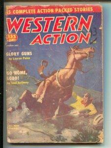 Western Action 1/1957-Columbia-gunfight cover-pulp thrills-Robert Silverberg-...