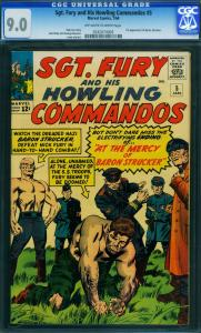 Sgt. Fury And His Howling Commandos #5 -CGC 9.0-1st BARON STRUCKER- 0242074003