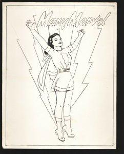 Mary Marvel Original Art 1950's-Original 8 1/2 x 11 heavy card stock-unpublis...