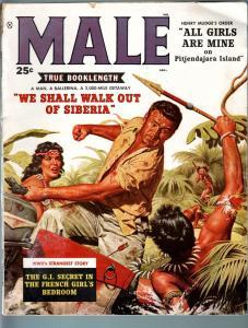 MALE-JAN 1959-NATIVE GIRL FIGHT COVER-BORAK-BAMA-KUNSTLER-PULP THRILL-WWII- VG