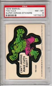 1976 Marvel Incredible Hulk Sticker PSA 8 (NM-MT)