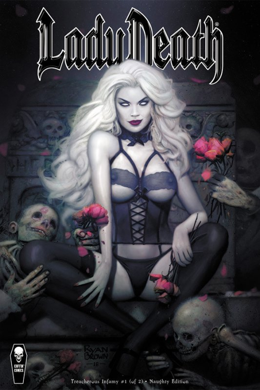 Lady Death Treacherous Infamy #1 NSFW Variant Cover by Ryan Brown Signed Pulido