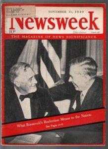 Newsweek 11/11/1940-Roosevelt 3rd term cover-Hitler photo-Buick-Cadillac-DeSoto-