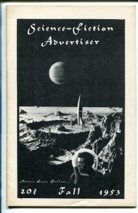 Fantasy Advertiser Fall 1953-early fanzine-pulps-sci-fi books-5 1/2 X 8 1/2-VF