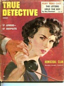 TRUE DETECTIVE-AUG 1954-G-MURDER-KIDNAP-RAPE-STRANGLING-POISONING-KIMMER COVER G