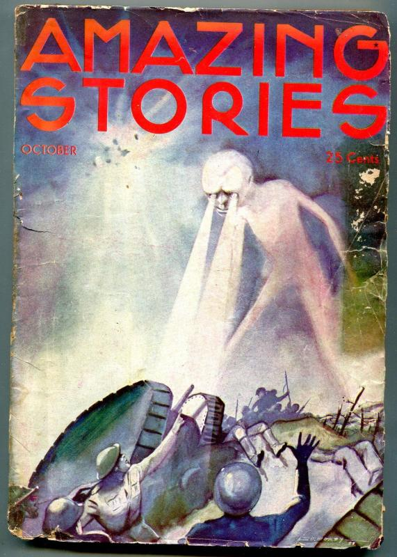 Amazing Stories Pulp October 1933- WWI horror cover- G