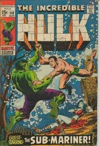 Incredible Hulk #118 ORIGINAL Vintage 1969 Marvel Comics Sub Mariner Battle