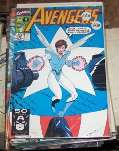 Avengers # 340 (Oct 1991, Marvel) wasp captain america vision thor