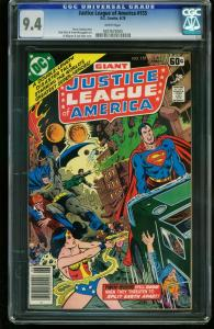 JUSTICE LEAGUE OF AMERICA #155 1978-CGC GRADED 9.4 WHITE PAGES 0207672005