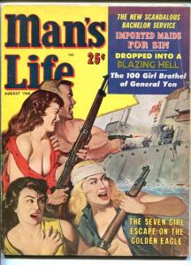 MAN'S LIFE-AUG 1960-SPICY-WWII-CRIME PULP FICTION-vg