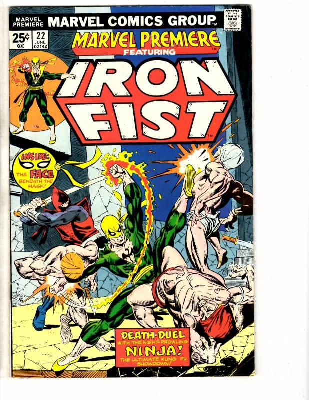 Marvel Premiere # 22 FN/VF Marvel Comic Book Iron Fist Kung FU Defenders RM1