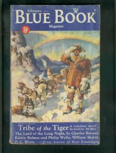 BLUE BOOK PULP-FEB 1934-PHILIP WYLIE-TRIBE OF TIGER-SF!-very good VG