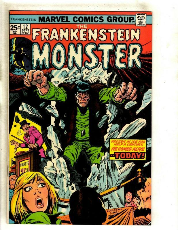 Monster Of Frankenstein # 12 VF/NM Marvel Comic Book Fear Scary Horror RS1