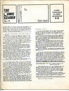 Comic Reader #75-1969-fandom's oldest newszine-VG/FN