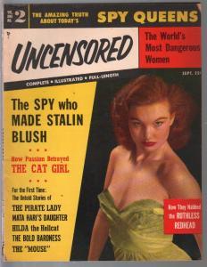 Uncensored-#2  9/1953-title change-Spy Queens-Mata Hari-Florida Nazi's-VG