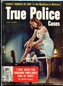 True Police Cases April 1958- Redhead stocking classic cover-king of pimps VG-