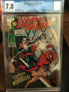 AMAZING SPIDER-MAN #101 -CGC 7.0 FN/VF -1ST APP MORBIUS-BRONZE AGE BLUE CHIP KEY