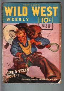 WILD WEST WEEKLY 7/13/1940-WESTERN PULP-SHOSHONE GWINN! VG/FN