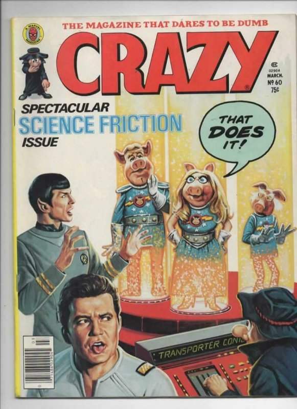 CRAZY #60 Magazine, VF-, Star Trek, Kirk, Spock, 1973 1980, more in store