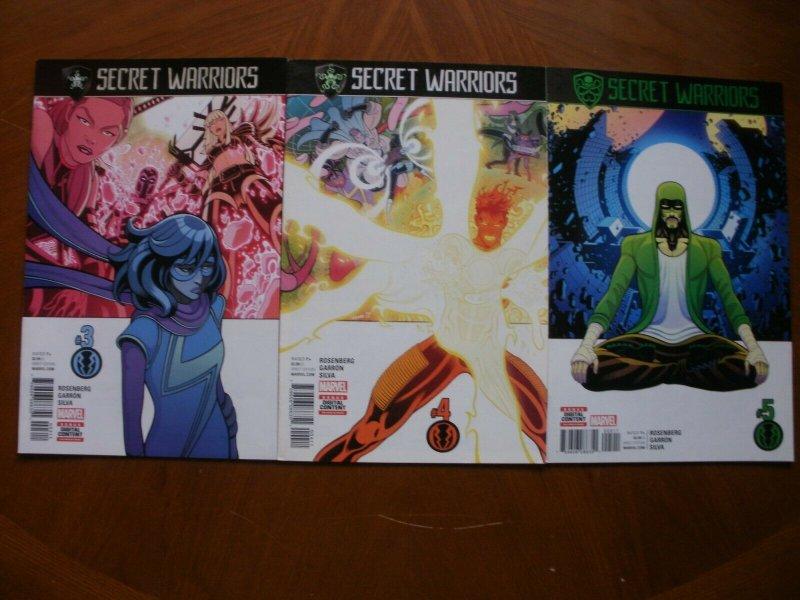 3 Near-Mint Marvel Comic SECRET WARRIORS #3 #4 #5 (2017) Rosenberg Garron Silva