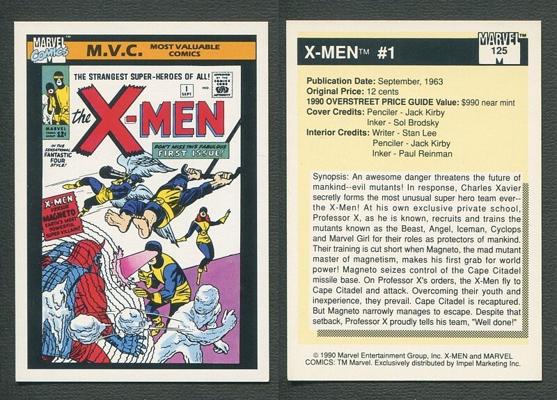 1990 Marvel Comics Card  #125 (X-Men #1 Cover) / NM-MT+