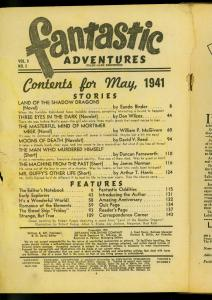 Fantastic Adventures Pulp May 1941-Land of the Shadow Dragons- Eando Binder POOR