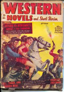 Western Novels & Short Stories 12/1953-Marvel-Norman Saunders gunfight cover-G