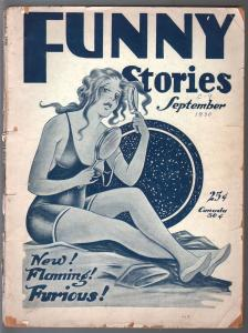 Funny Stories 9/1930-spicy pulp stories & art-very rare-spicy swimsuit cover-G