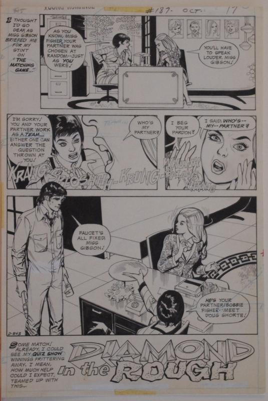 YOUNG ROMANCE #187, Original art, Diamond in the Rough, 10x15, 1972, Game Show