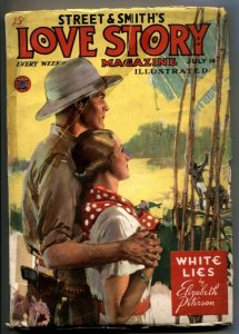 Love Story Pulp July 14 1934- WHITE LIES- Jungle cover G