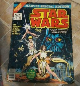 STAR WARS # 1  1977 MARVEL SPECIAL EDITION OVER-SIZED GEORGE LUCAS W MOVIE PHOTO