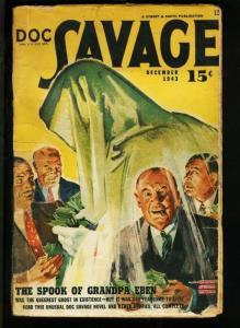 DOC SAVAGE 1943 DEC-WEIRD COVER-PULP MAGAZINE FN-