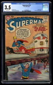 Superman #123 CGC VG- 3.5 Off White 1st Supergirl tryout! Beautiful Copy!